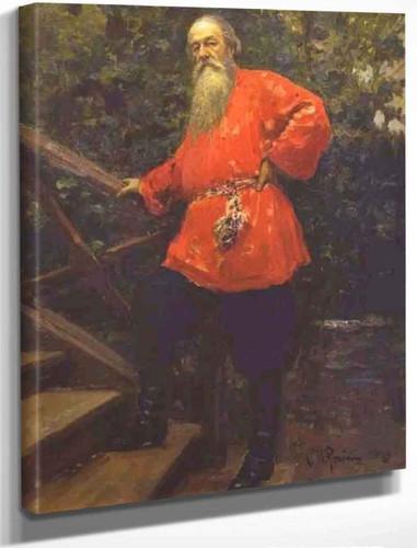 Portrait Of The Art Critic Vladimir Stasov. By Ilia Efimovich Repin By Ilia Efimovich Repin
