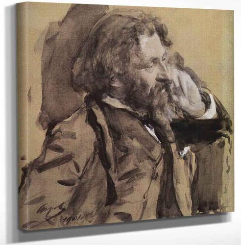 Portrait Of The Artist Ilya Repin By Valentin Serov. By Ilia Efimovich Repin Art Reproduction