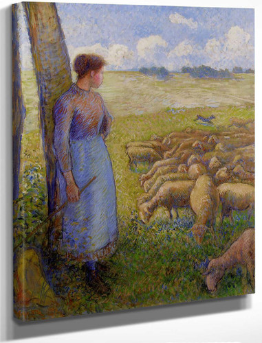 Shepherdess And Sheep By Camille Pissarro By Camille Pissarro