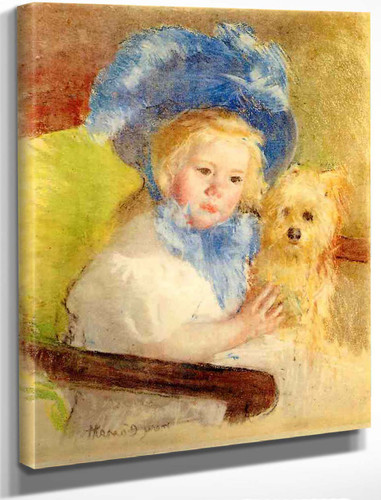 Simone In A Large Plumed Hat, Seated, Holding A Griffon Dog By Mary Cassatt By Mary Cassatt