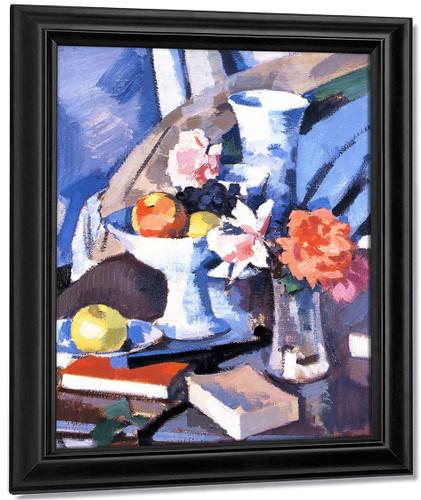 Still Life, Roses And Book By Samuel John Peploe
