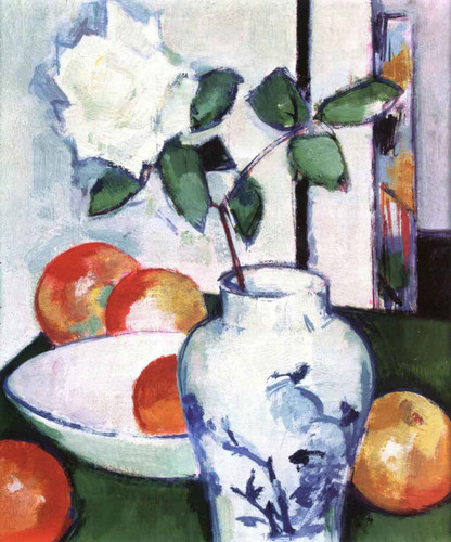 Still Life Apples And A White Rose In An Oriental Vase By Samuel John Peploe
