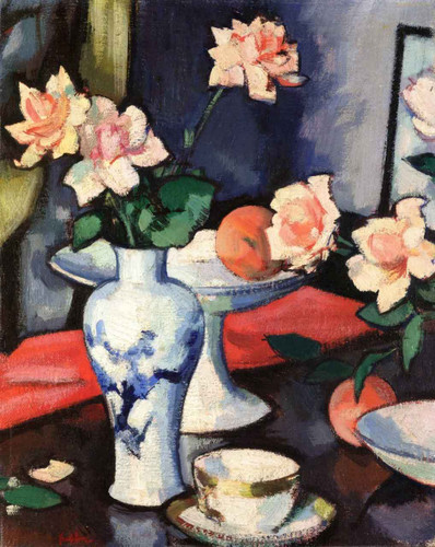 Still Life With Roses In A Chinese Vase By Samuel John Peploe