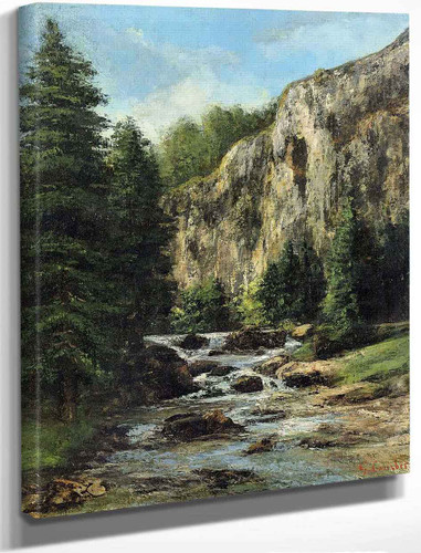 Study For Landscape With Waterfall By Gustave Courbet By Gustave Courbet
