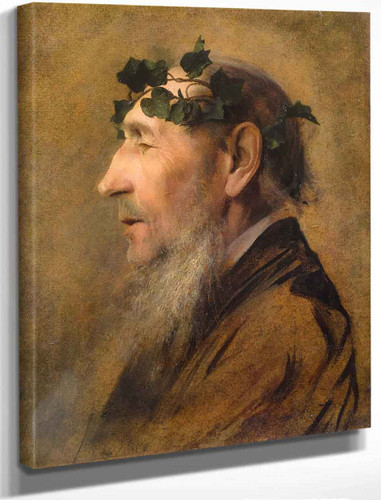 Study Of An Old Man With Ivy Wreath By Gustav Klimt By Gustav Klimt