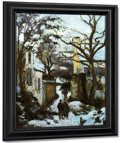 The Road To L'hermitage In Snow By Camille Pissarro By Camille Pissarro