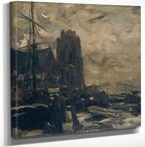 Ships In The Port Of Dordrecht By Jacob Henricus Maris Art Reproduction