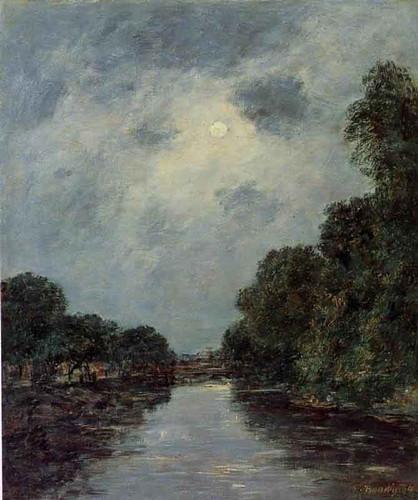 The Somme Near Dabbeville Moonlight By Eugene Louis Boudin By Eugene Louis Boudin