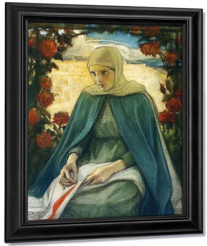 The Virgin Mary In The Rose Garden By Albert Edelfelt