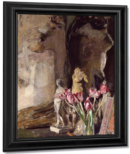 Tulips And Statuettes By Edouard Vuillard