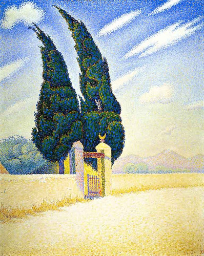 Two Cypresses, Mistral, Opus 241 By Paul Signac
