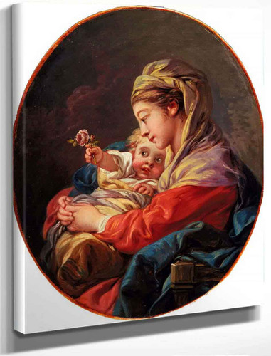 Virgin And Child With A Rose By Francois Boucher
