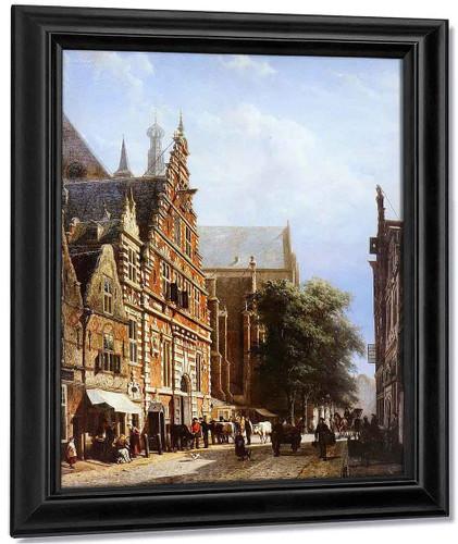 Vleeschhal And Grote Kerk In Haarlem By Cornelius Springer