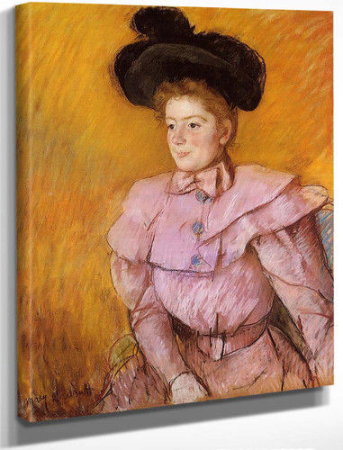 Woman In A Black Hat And A Raspberry Pink Costume By Mary Cassatt By Mary Cassatt