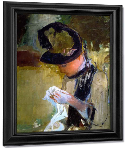 Woman In Black And Green Bonnet, Sewing By Mary Cassatt By Mary Cassatt