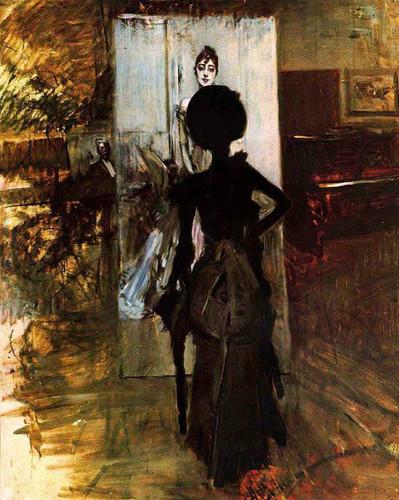 Woman In Black Looking At The Portrait Of Signora Emiliana Concha De Ossa By Giovanni Boldini By Giovanni Boldini
