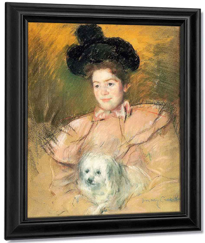 Woman In Raspberry Costume Holding A Dog By Mary Cassatt By Mary Cassatt