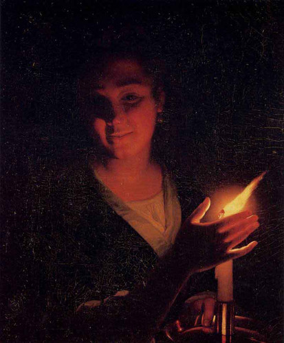 Young Girl With A Candle By Godfried Schalcken
