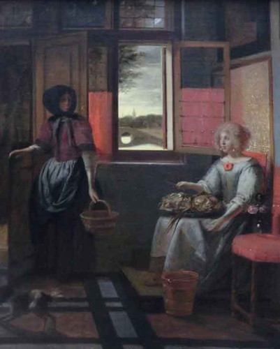 Young Woman And Her Servant By Pieter De Hooch