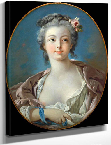 Young Woman With Flowers In Her Hair By Francois Boucher