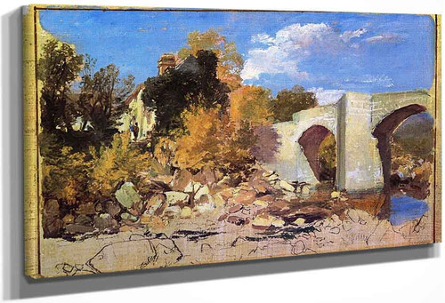 A Bridge With A Cottage And Trees Beyond By Joseph Mallord William Turner