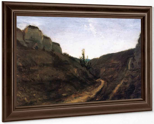 A Country Road In A Hilly Landscape By Stanislas Lepine