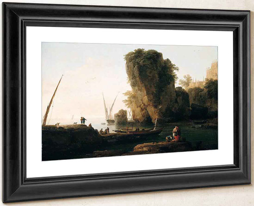 A Cove On A Rocky Mediterranean Landscape By Claude Joseph Vernet