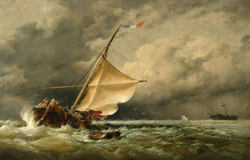 A Dutch Beurtman Aground On The Terschelling Sands, In The North Sea After A Snowstorm By Edward William Cooke, R.A.