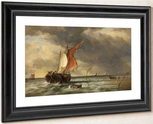 A Dutch Galliot Aground On A Sandbank On The Biesbosch, The Netherlands By Edward William Cooke, R.A.