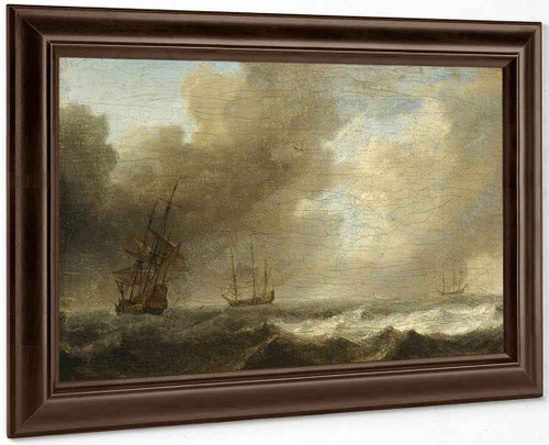 A Dutch Ship Lying To In A Strong Breeze By Willem Van De Velde The Younger