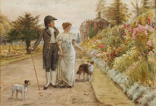 A Garden Stroll By George Goodwin Kilburne By George Goodwin Kilburne