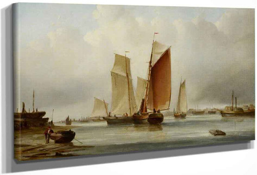 A Harbour Scene With Fishing Boats By Edward William Cooke, R.A.