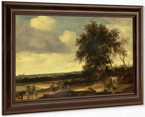 A Landscape With Cavaliers In The Foreground, A Church Beyond By Jacob Van Ruisdael