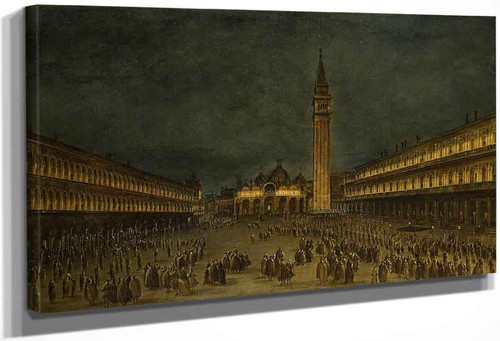 A Night Procession In The Piazza San Marco By Francesco Guardi