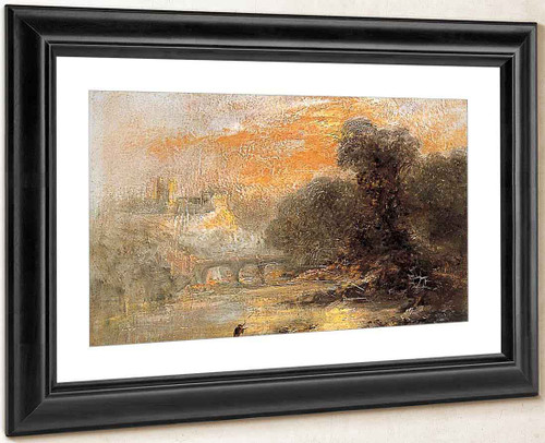 A River Landscape With A Figure And A Bridge By James Baker Pyne