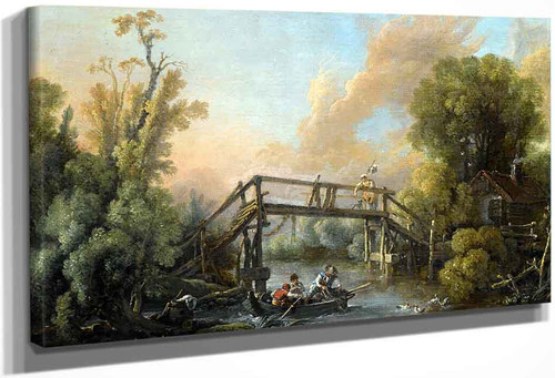 A River Lanscape With A Woman Crossing A Bridge By Francois Boucher