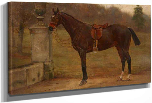 A Saddled Dark Bay Horse Next To An Urn In A Garden By George Goodwin Kilburne By George Goodwin Kilburne