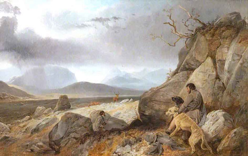 A Scottish Landscape With Stalkers By Richard Ansdell