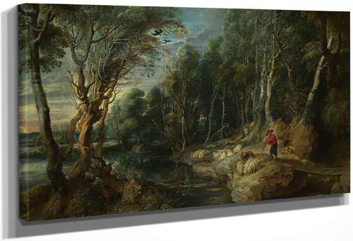 A Shepherd And His Flock In A Woody Landscape By Peter Paul Rubens