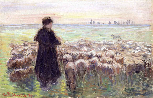 A Shepherd And His Flock Of Sheep By Camille Pissarro