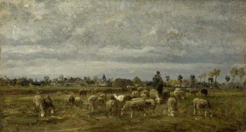 A Shepherd And His Flock By Constant Troyon