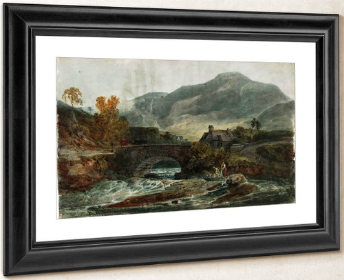 A Single Arched Stone Bridge And A Cottage, With Possibly Aran Fawddwy Behind By Joseph Mallord William Turner