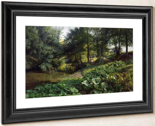 A Wooded River Landscape With Deer Beyond By Peder Mork Monsted