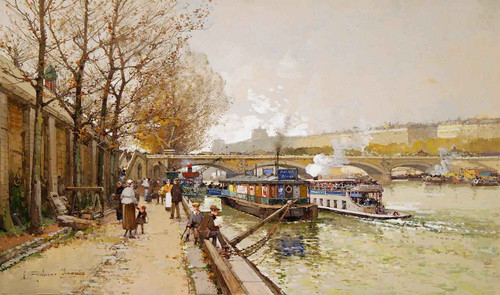 Along The Seine River By Eugene Galien Laloue