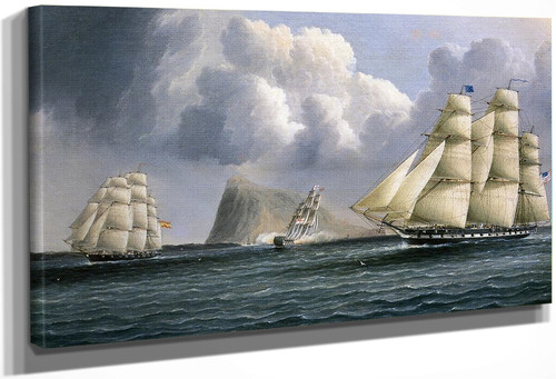 American Frigate Off Gibralter Flying A Commodores Pennant By James E. Buttersworth