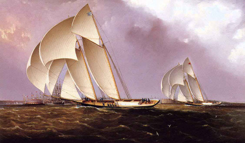Americas Cup Class Yachts Racing In New York Harbor By James E. Buttersworth