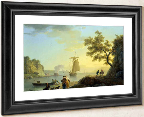 An Extensive Coastal Landscape With Fishermen Unloading Their Boats By Claude Joseph Vernet