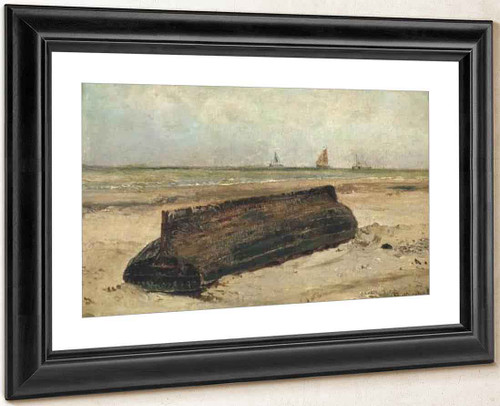 An Upturned Boat On A Beach By Jacob Henricus Maris