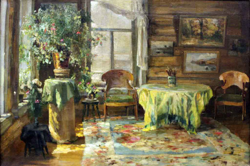 At The Dacha By Sergei Arsenevich Vinogradov Russian 1869 1938
