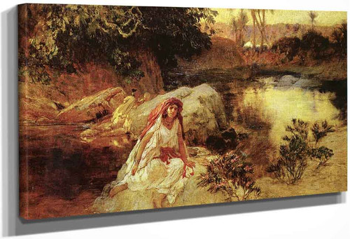 At The Oasis By Frederick Arthur Bridgman